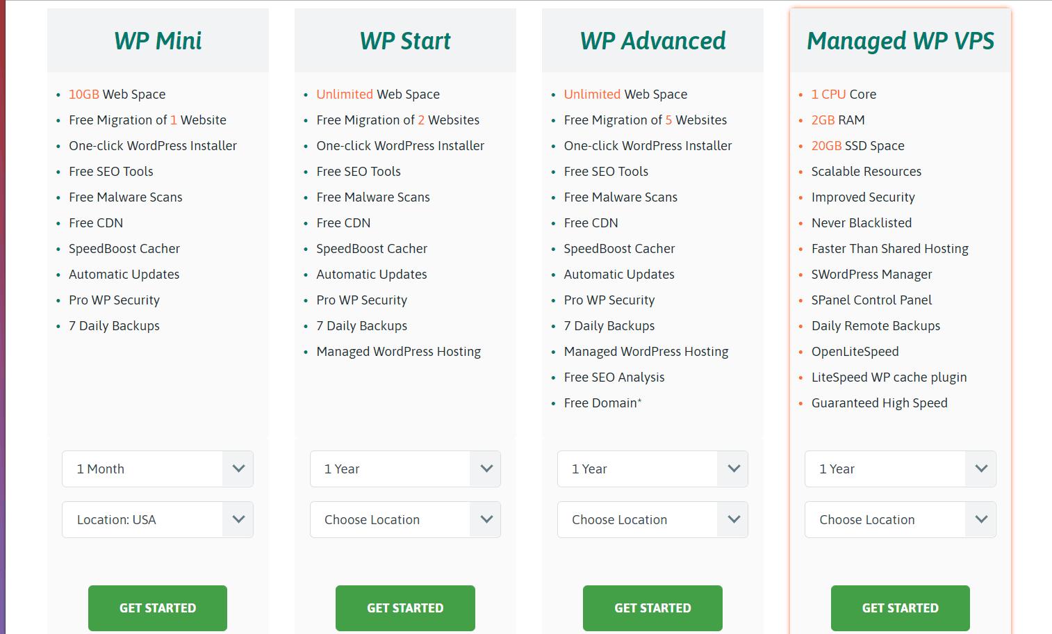 Scala Hosting review - hosting plans