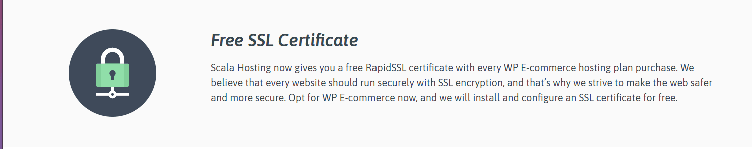 Scala Hosting review - free SSL