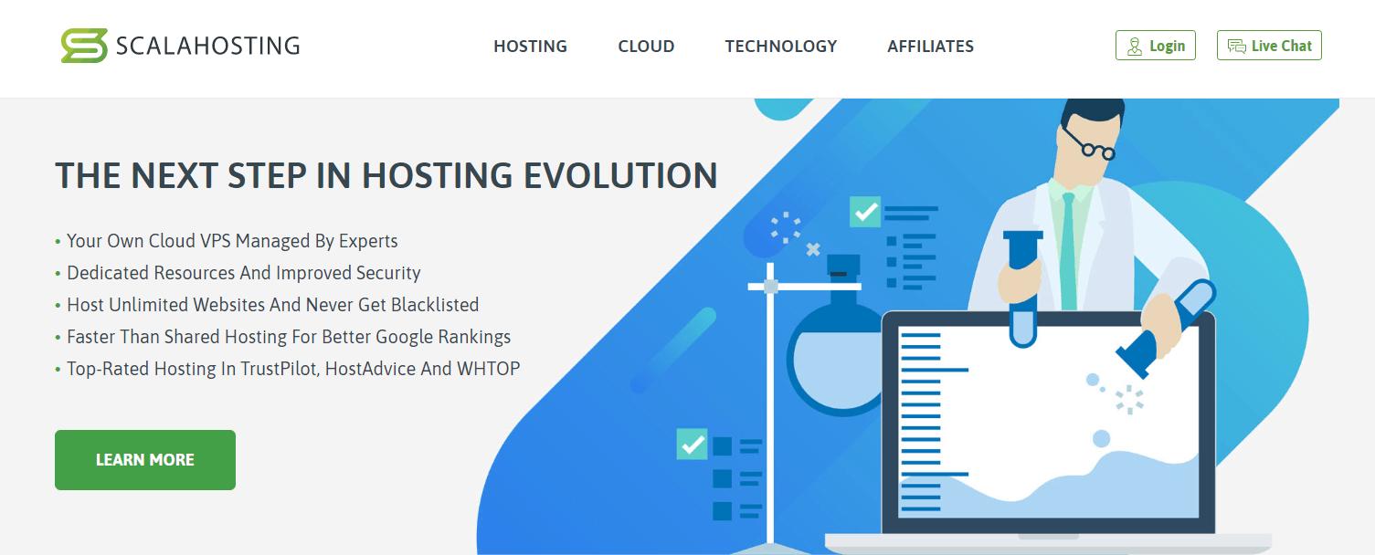Scala Hosting review - homepage screenshot