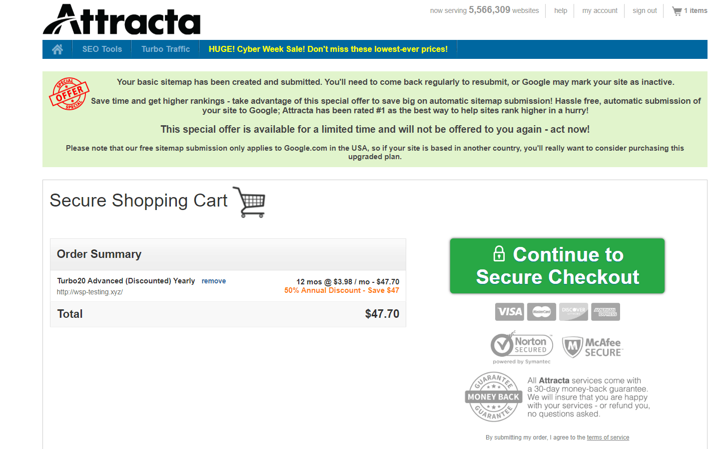 Scala Hosting review - Attracta screenshot