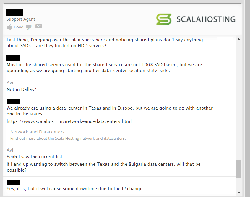 Scala Hosting review - customer support screenshot