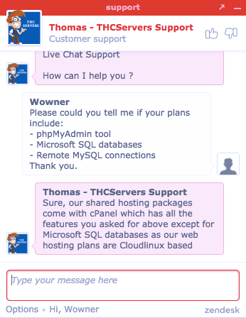 thcserver support