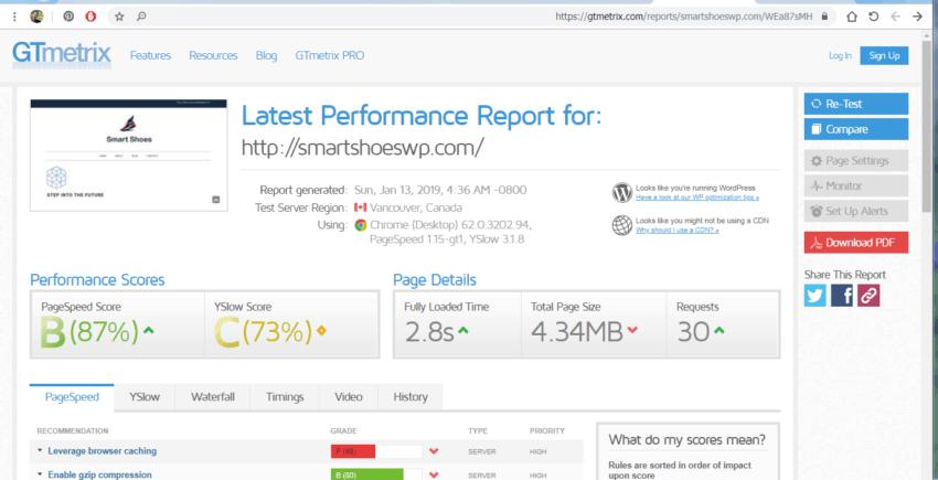 WordPress Speed test with no_plugins