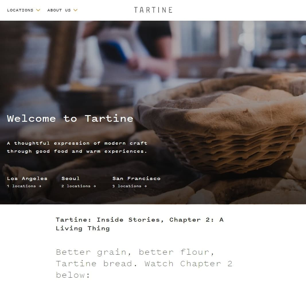 Tartine Bakery Website