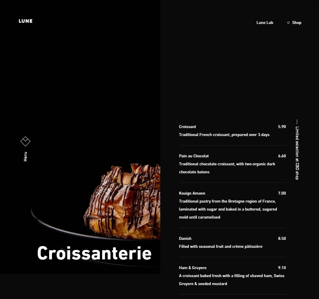 Lune Croissanterie Bakery Website