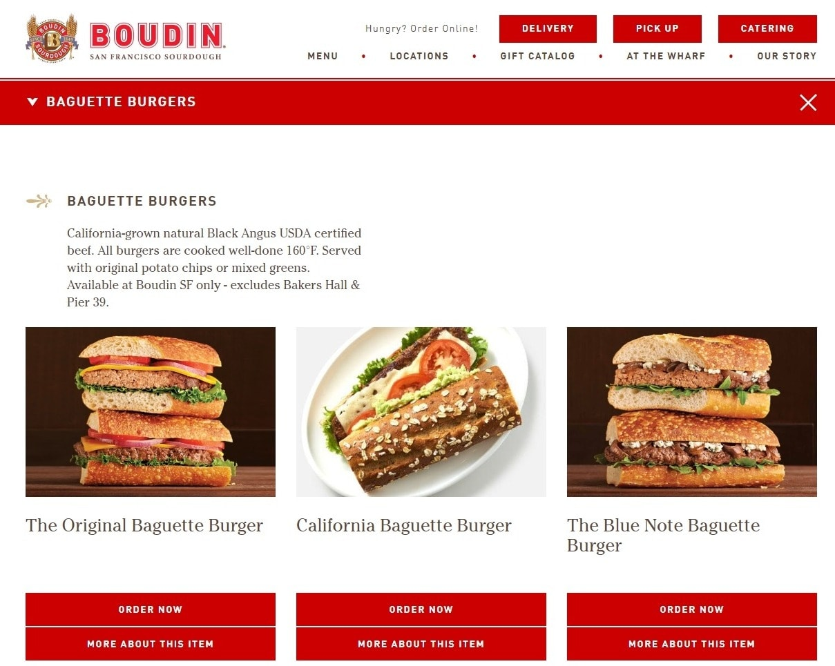 Boudin Bakery Website