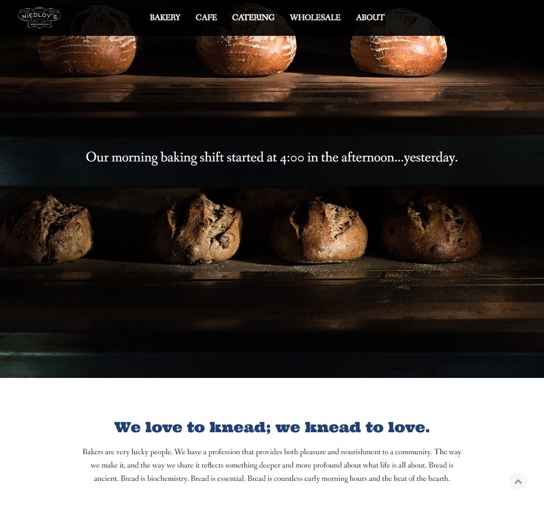 Niedlov's Breadworks Bakery Website