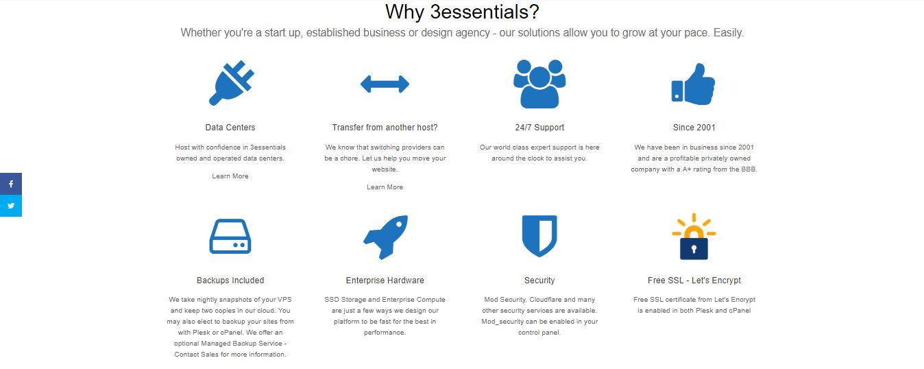 3essentials Hosting features