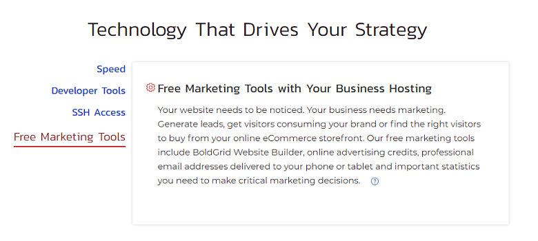 Description of InMotion Hosting's managed WordPress marketing tools