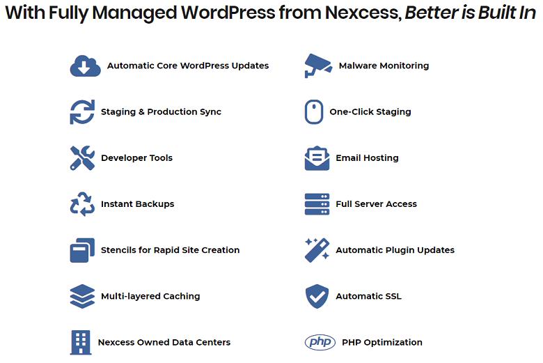 Nexcess managed WordPress hosting feature list