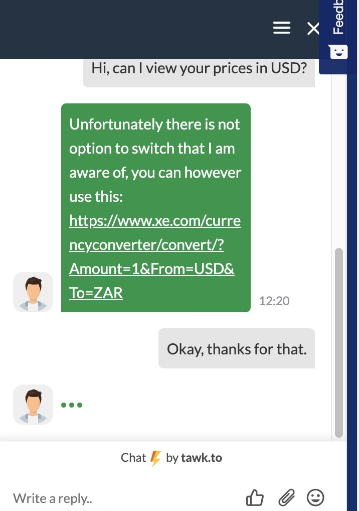 HOSTAFRICA live chat support