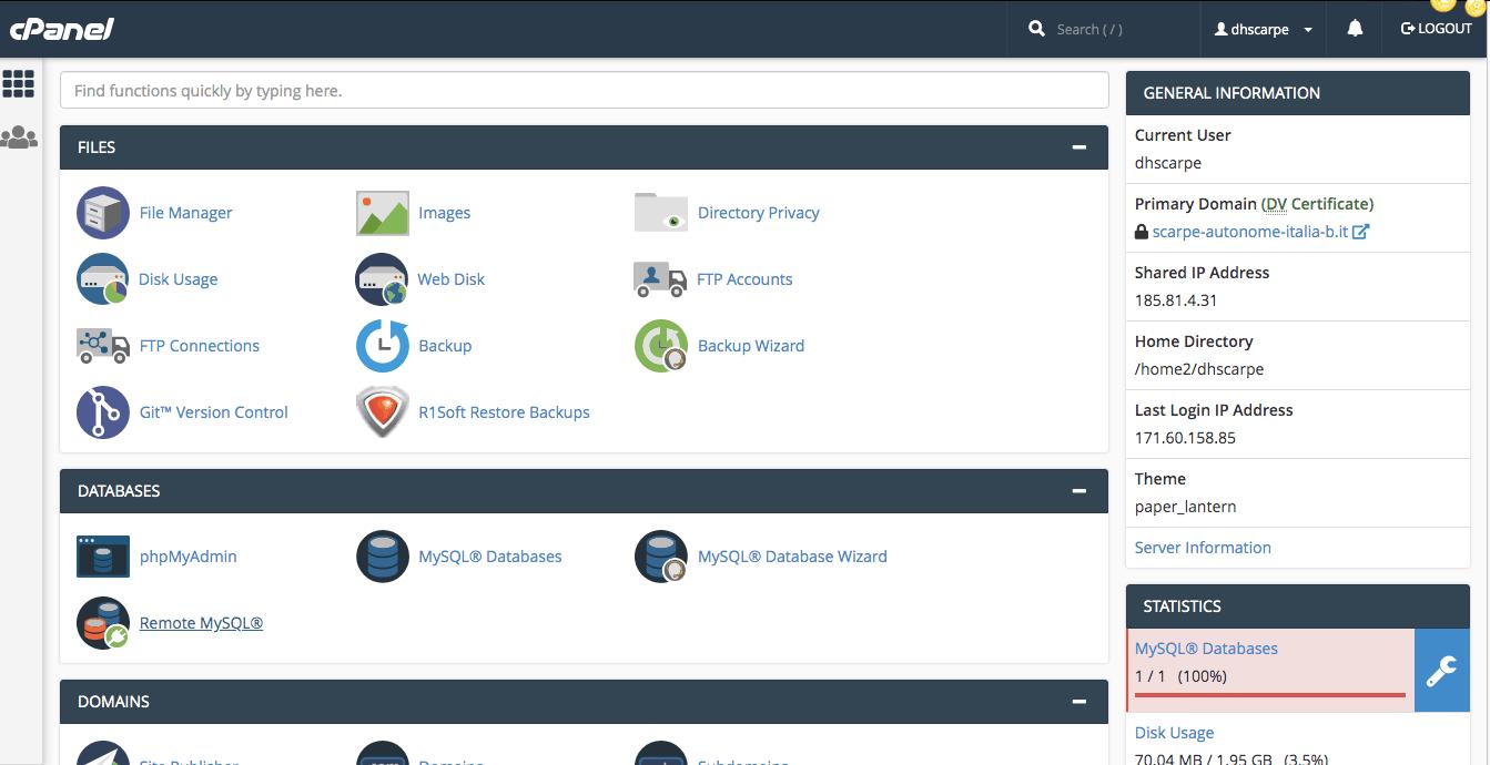 cpanel di serverplan