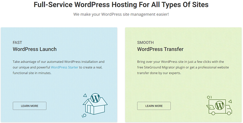 Description of ease of use features for SiteGround's managed WordPress plans