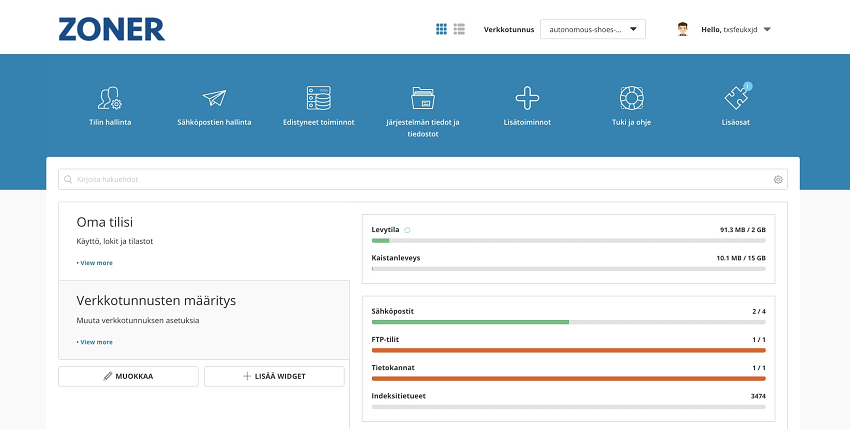 Zoner user interface optimage2