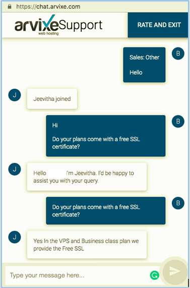 Arvixe Customer Support Chat