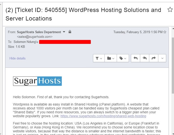 Sugarhosts ticket