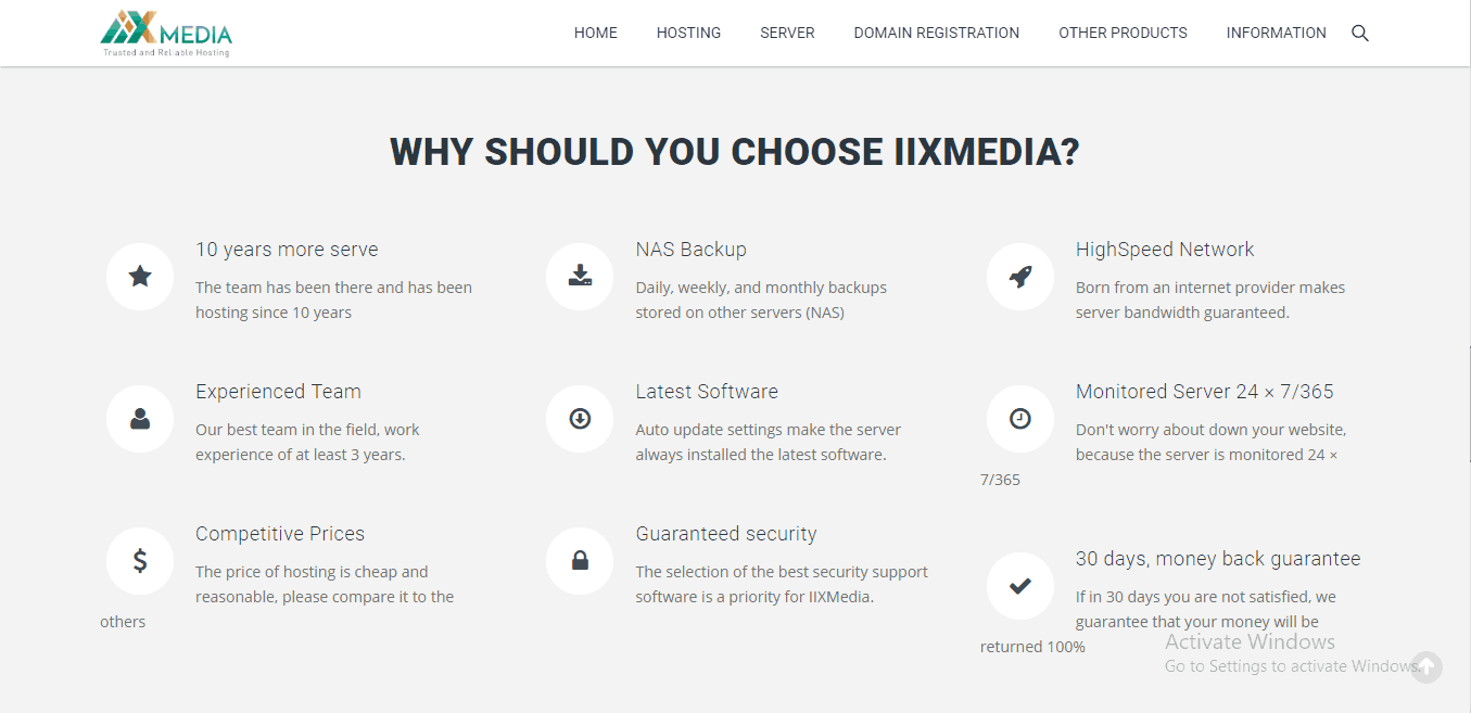 IIXMedia Hosting features