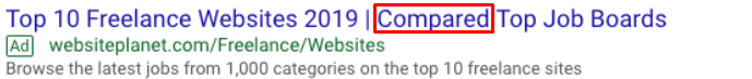 google ad with moderate typo