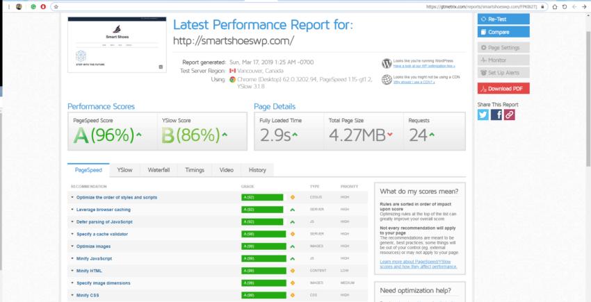 WP_fastest_cache plugin speed test