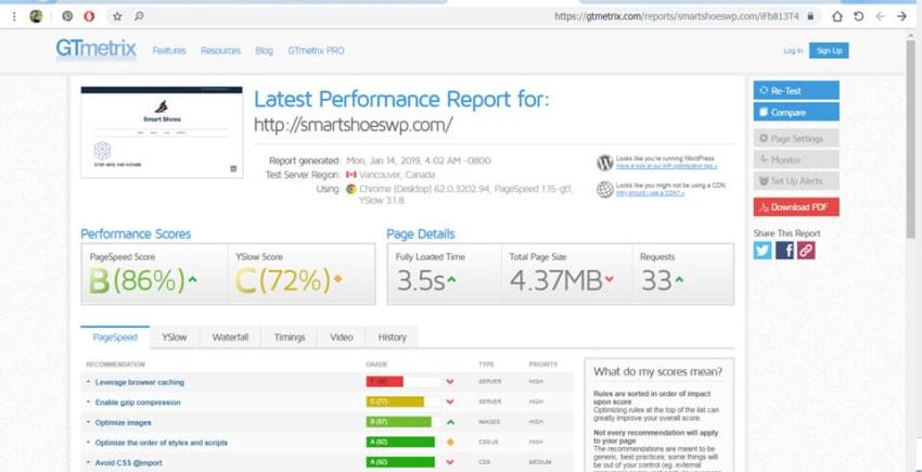 WPForms page speed test