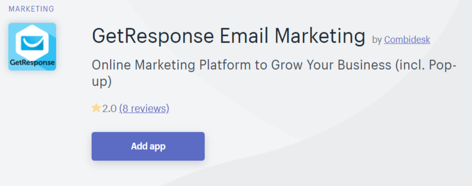 Get Response integration for Shopify