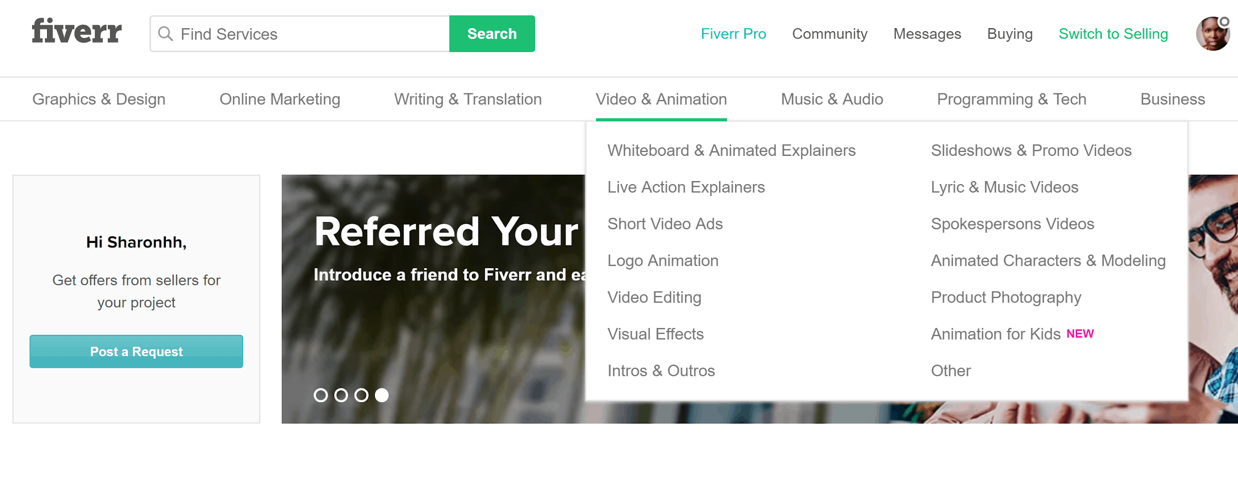 Fiverr search function
