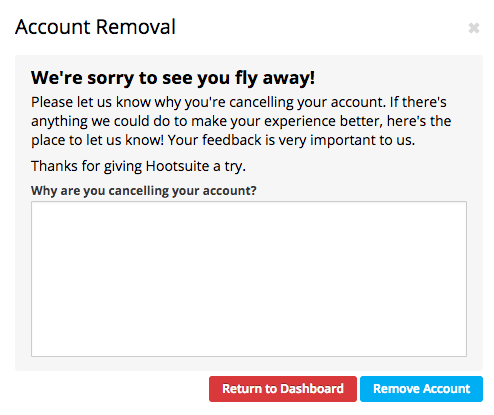Hootsuite account removal screen