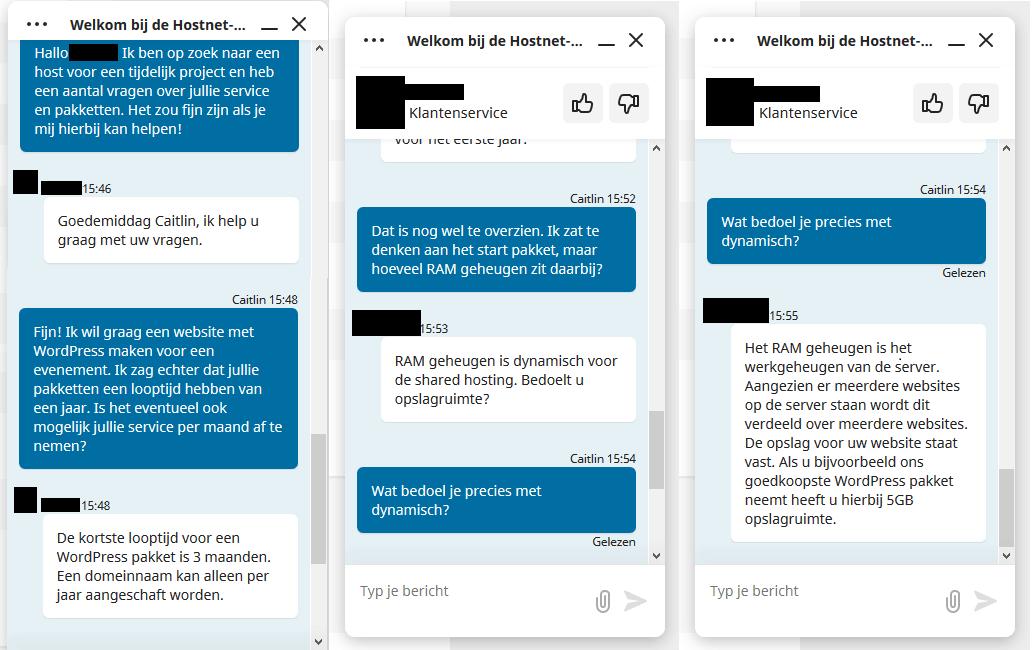 Chat Klantenservice Hostnet
