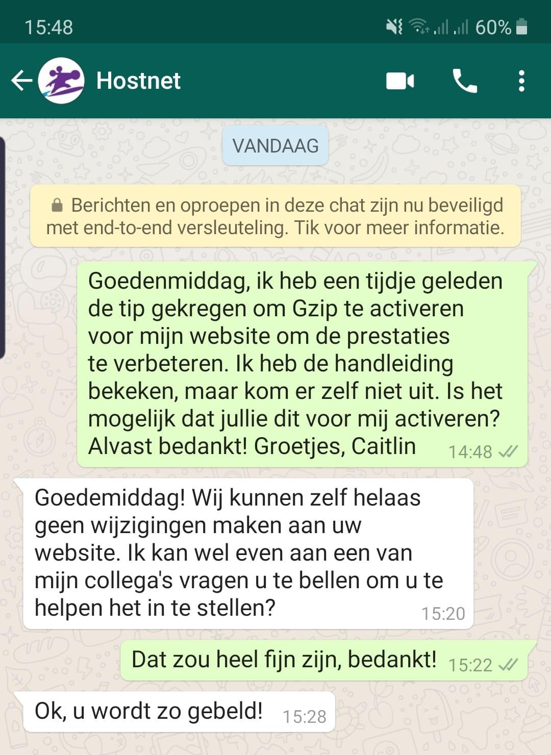 Hostnet Klantenservice WhatsApp