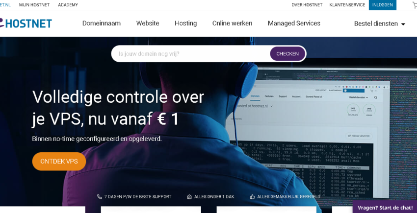 Hostnet main page