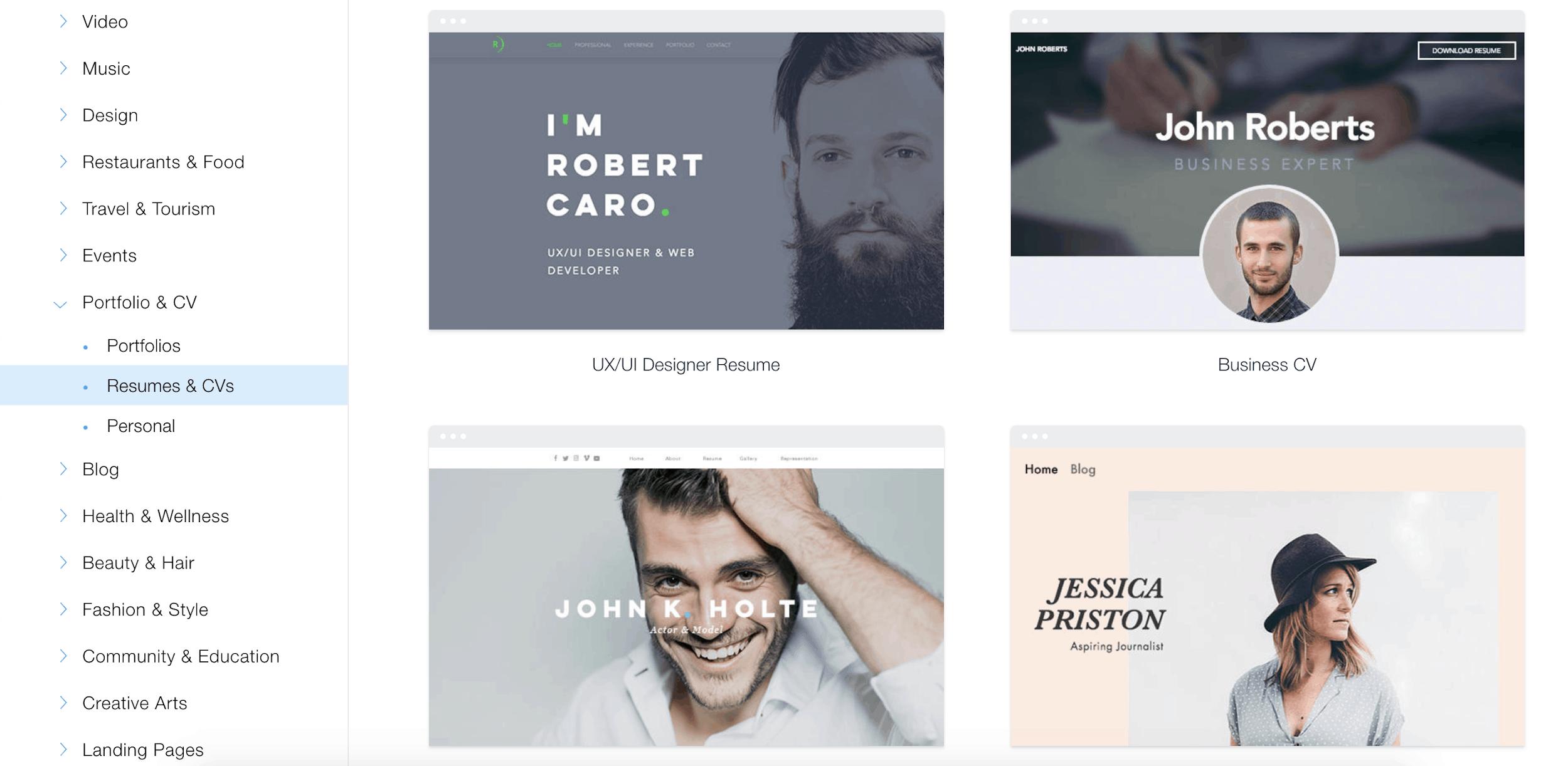 Wix Portfolio & CV templates