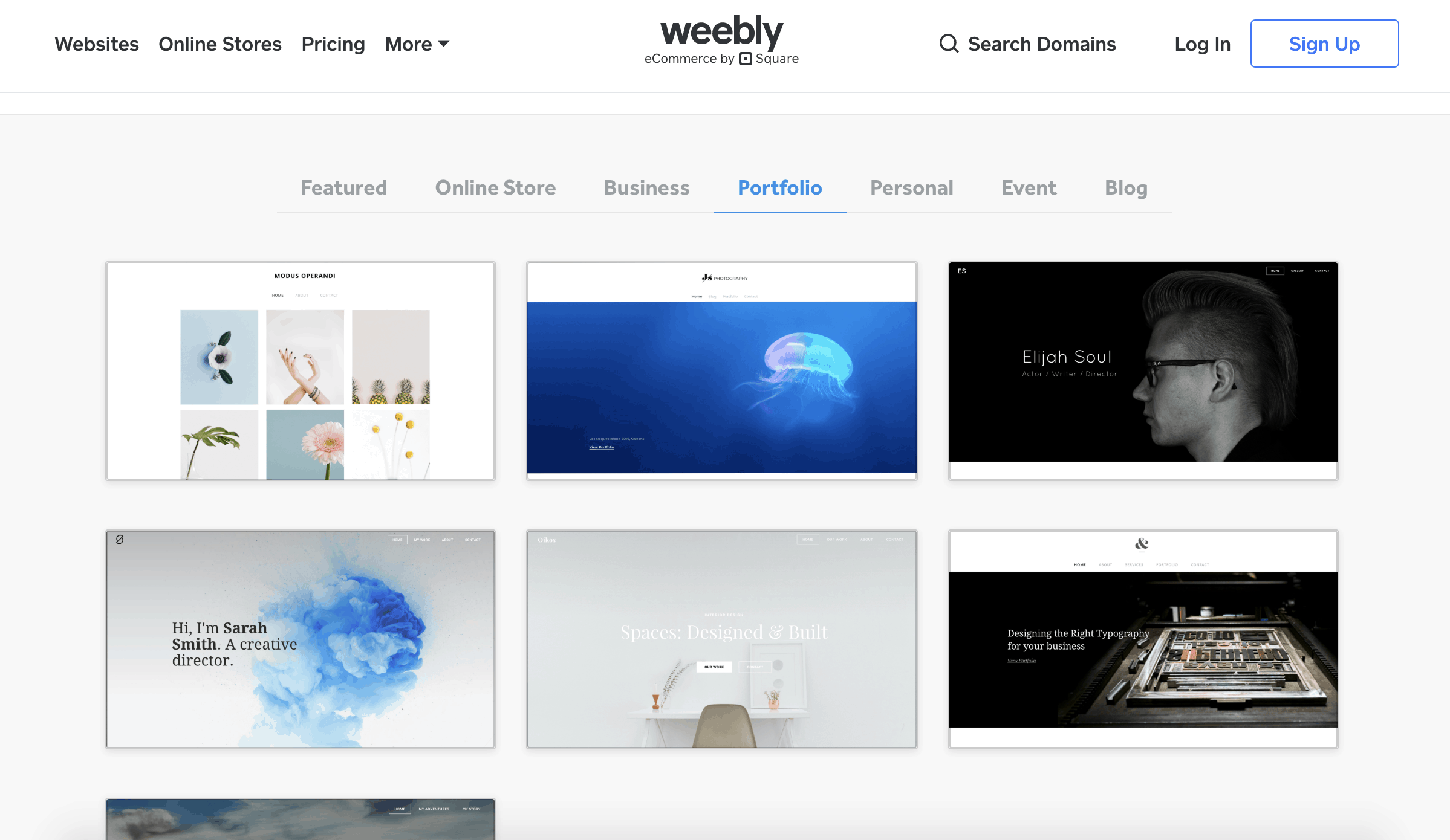 Weebly portfolio templates