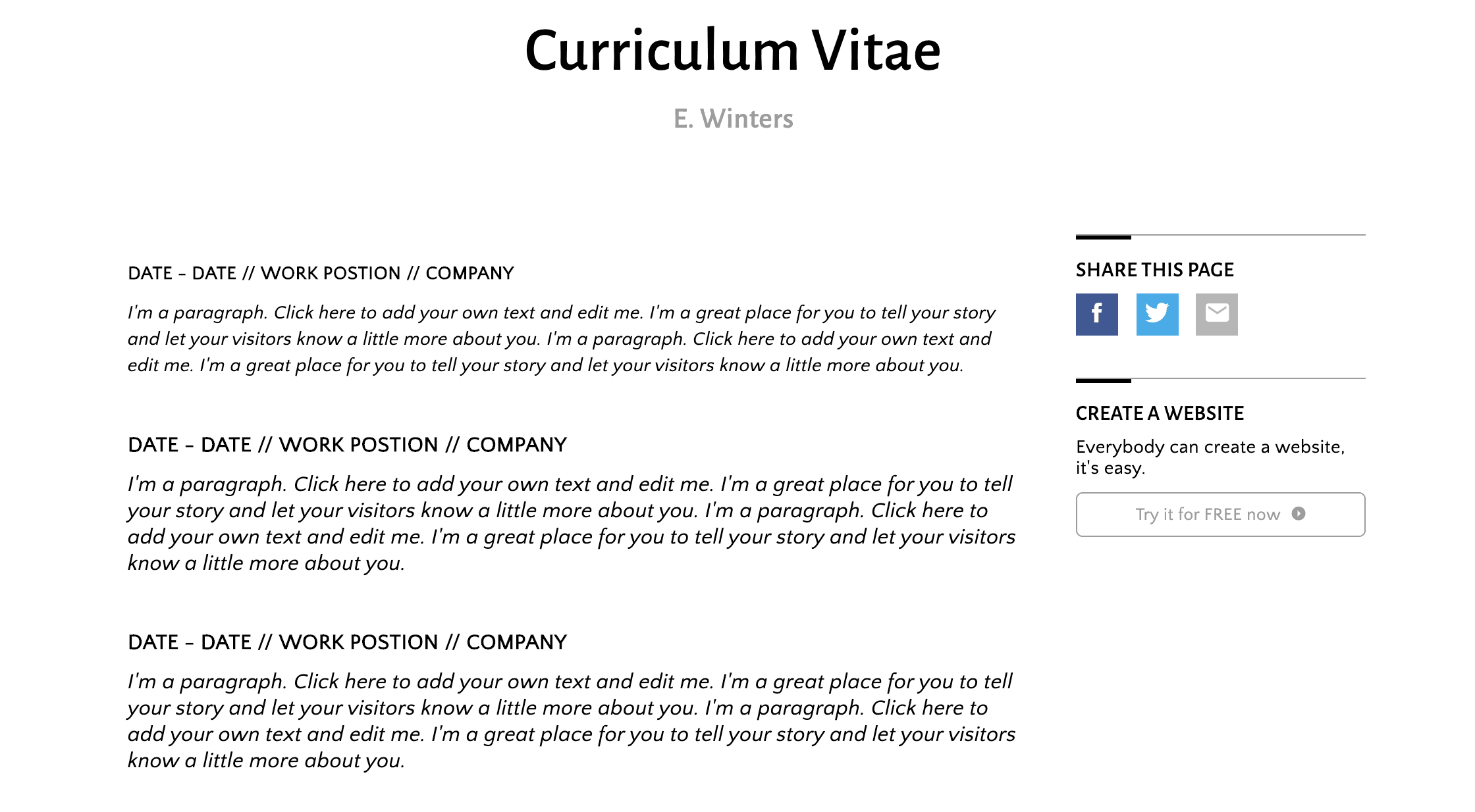 SimpleSite Curriculum Vitae theme