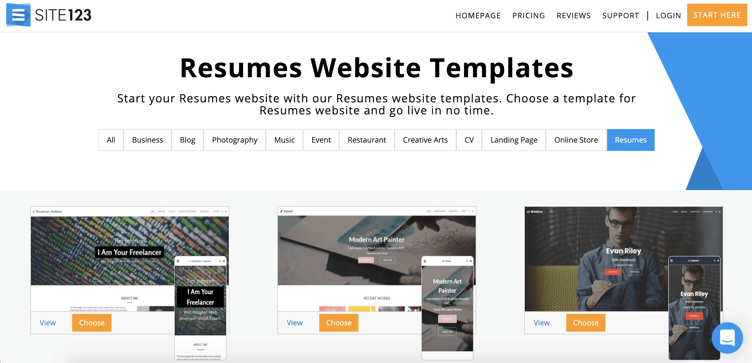 Site123 resume templates