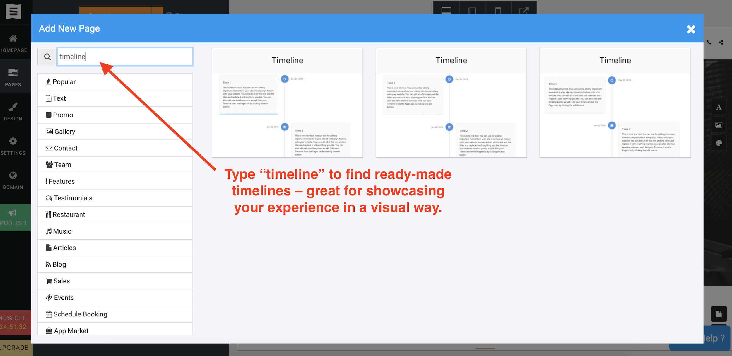 Site123 timeline feature for resume websites