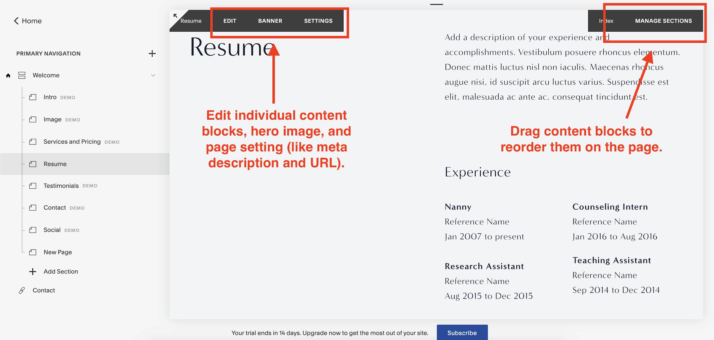 Squarespace editor