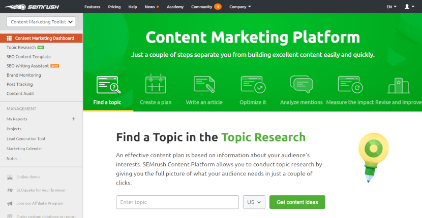 Content Marketers Guide to SEMrush-overview6