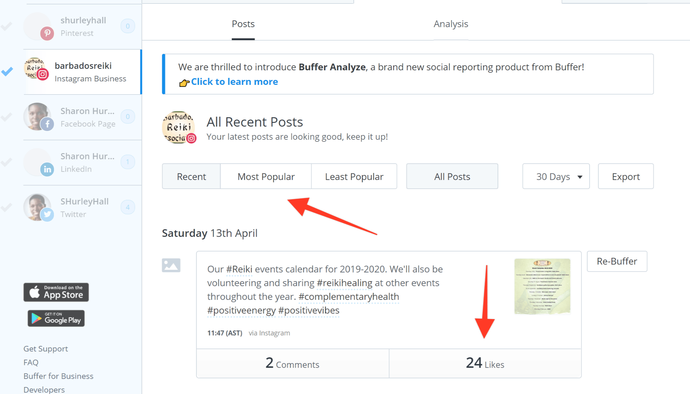 Hootsuite vs. Buffer - Buffer's analytics tab