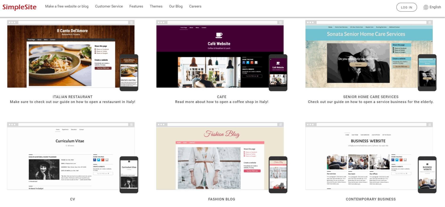 SimpleSite Themes