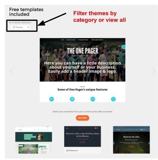 UK2 includes 50 free WordPress themes
