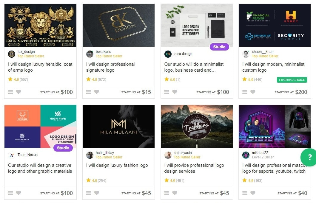 Some of Fiverr's logo design gigs.