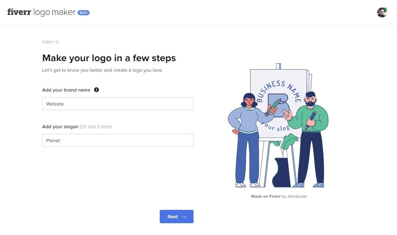 The questionnaire used to help choose logo templates