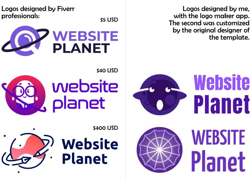 A comparison of logos made in the app, and logos made from scratch by designers.