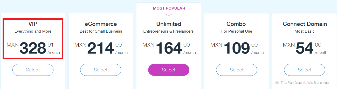 Wix Pricing Mexico