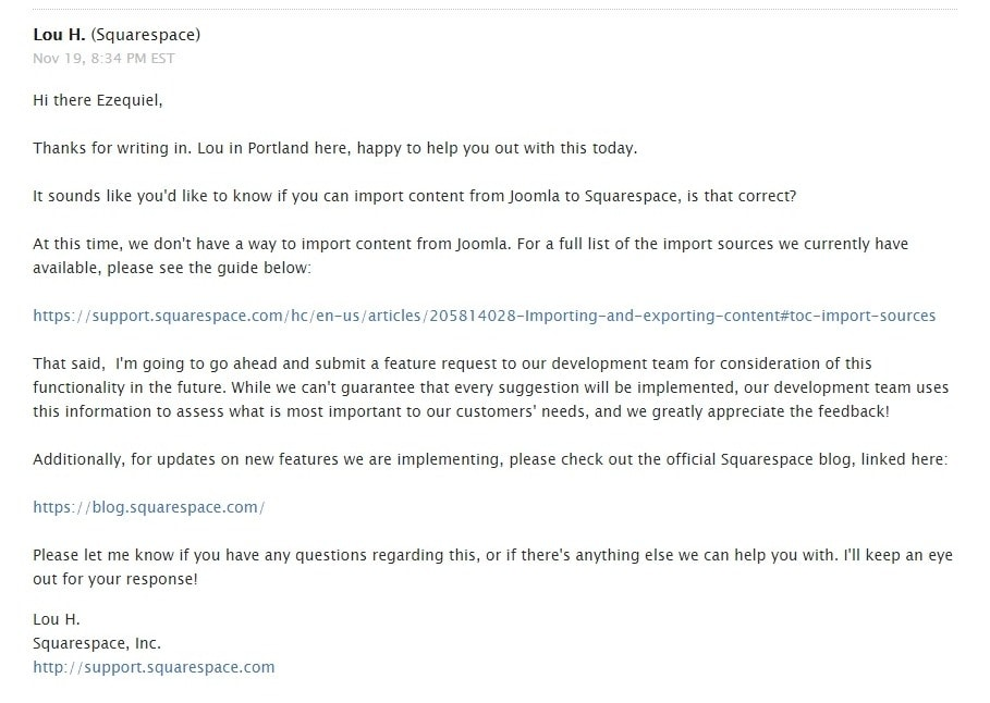 Email from Squarespace support team representative