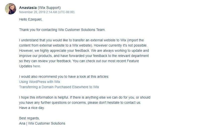 Email from Wix support team representative