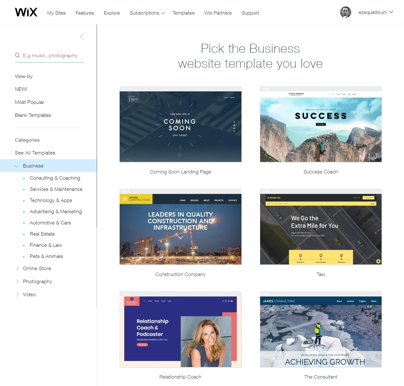 Wix Business templates