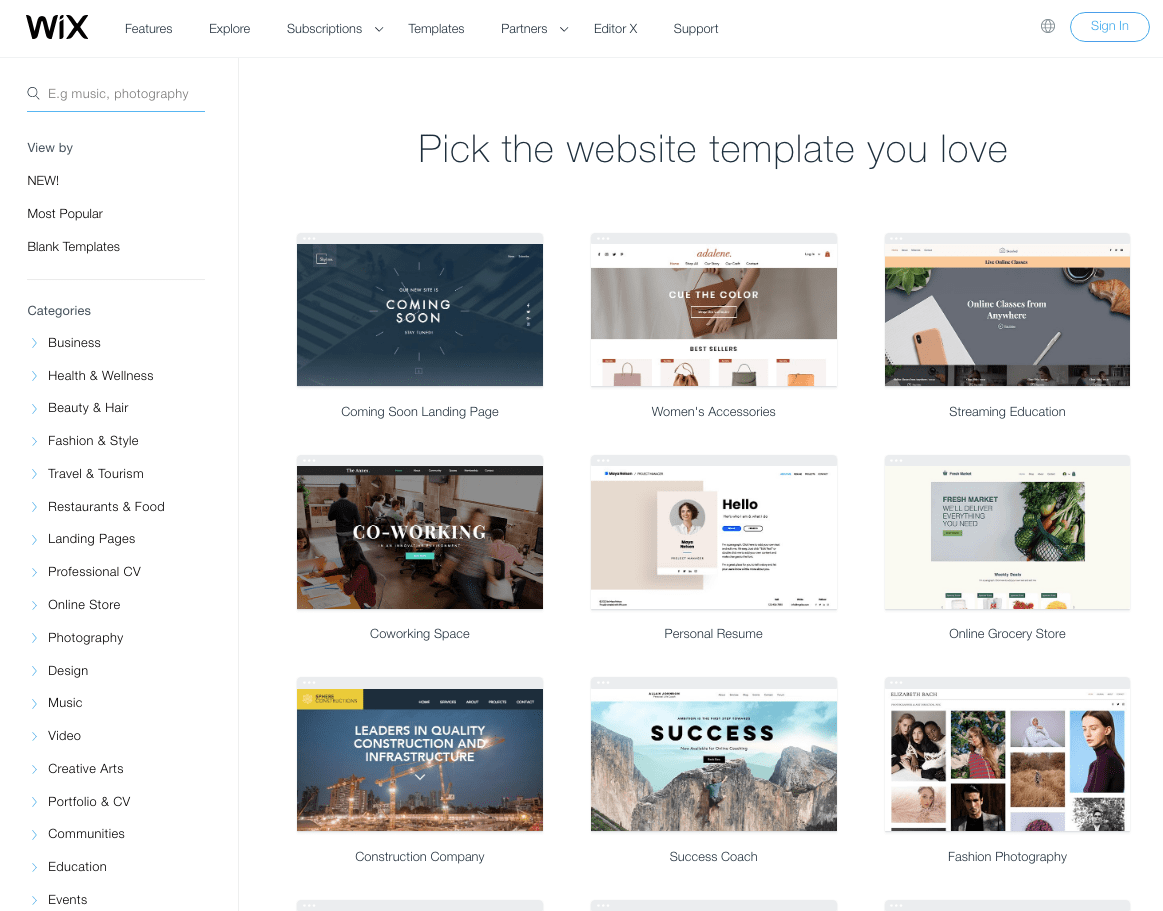 Selection of 500+ Wix Templates