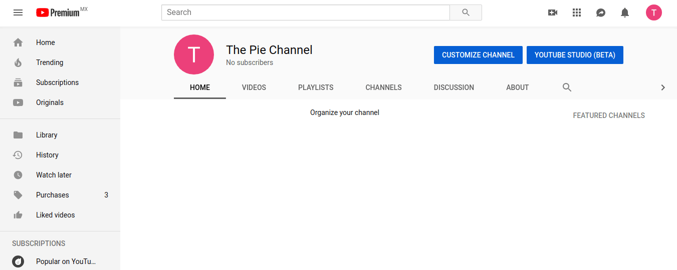 YouTube screenshot - Channel dashboard