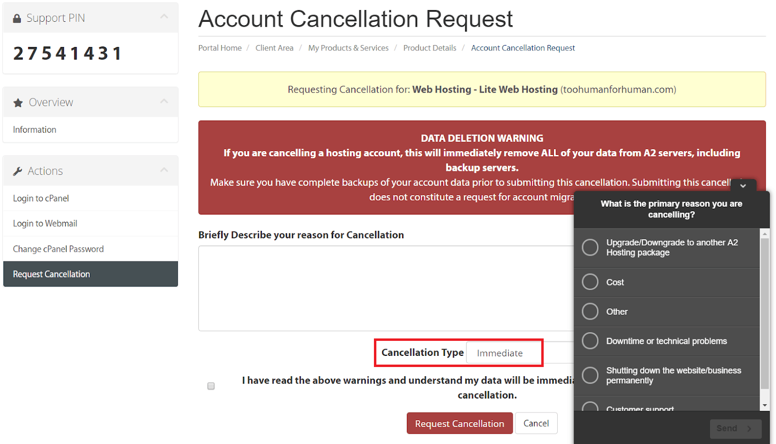 How to Cancel Your A2 Hosting Account and Get a Refund-image4